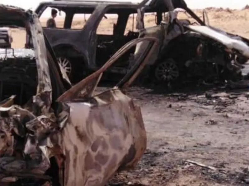Cars after burning down due to the collision impact